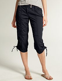 Tie-bottom capris